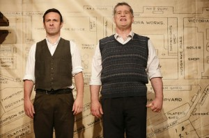 L-R: Michael Condron and Dan Gordon in THE BOAT FACTORY, part of Brits Off Broadway at 59E59 Theaters. Photo by Carol Rosegg