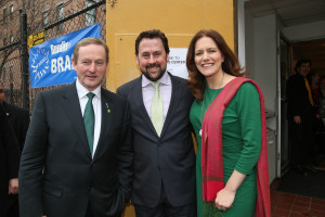 MONDAY MARCH 17, 2014, NEW YORK, NY- An Taoiseach Enda Kenny attends a celebration of the 4th Annual Irish Arts Center Book Day at the Irish Arts Center (553 West 51st St, New York) with National Book Award Winner Colum McCann. End Kenney, Aidan Connolly, Pauline Turley. ©  Erin Baiano