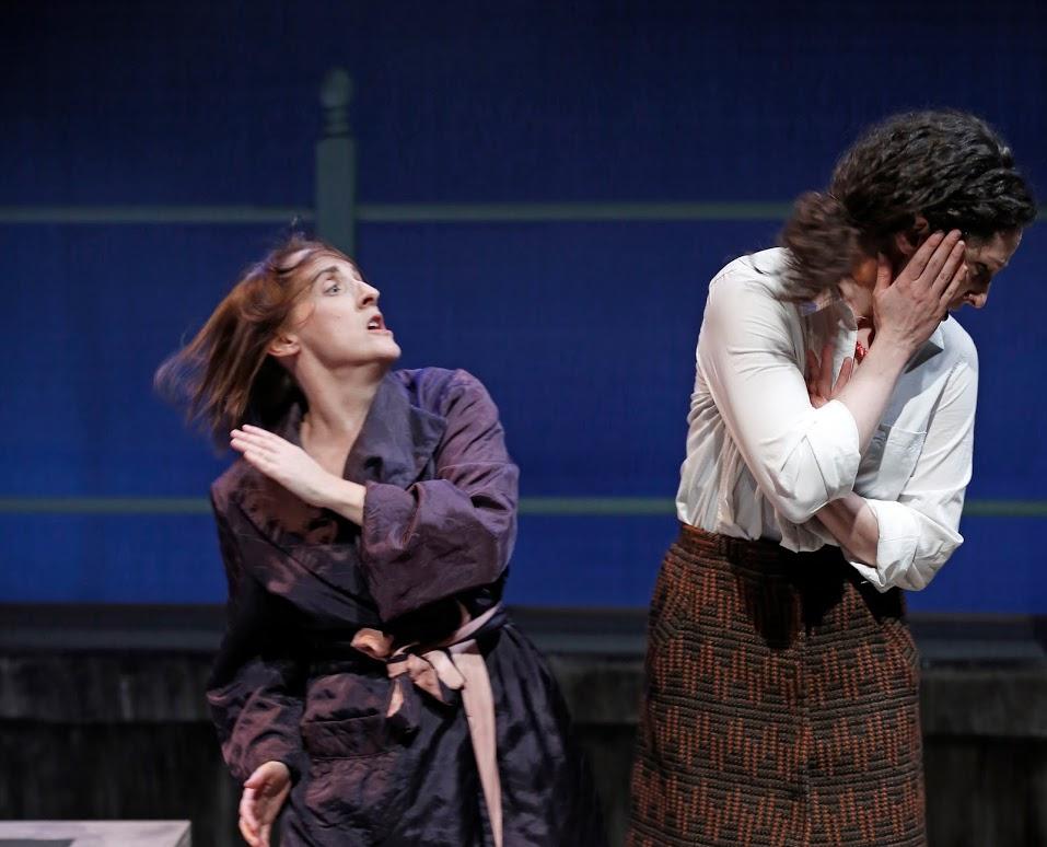 Morag (Aedin Moloney) slaps Fiona (Barrie Kreinik). ©Carol Rosegg