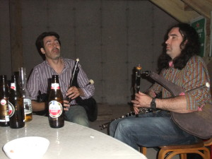 Ivan Goff and Blackie O'Donell on the pipes in the wee hours.