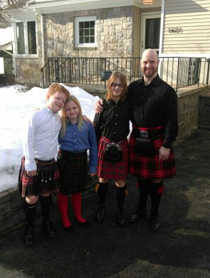 From left: Lucas, Chloe, Xander and Thomas Burt, in their kilts.